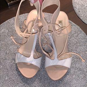 Heels white and cream strap